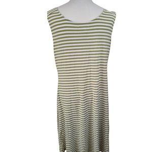 5/$20 Dressbarn XL Green & White Striped Dress